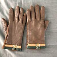 Vintage Isotoner Gloves Medium Brown Leather Buckle Details