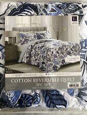 Cynthia Jacobean Cotton Reversible Quilt 3pc Set