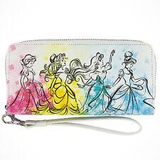 Disney Parks Princess Watercolor Wallet Zippered Clutch Princesses