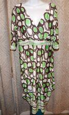 ICE SILK Green White Black Polka Dot Cross-Over V-Neck SS Dress Women's 1XL
