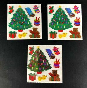 Vintage LOT 3 Sandylion OPAL PEARL Sticker Christmas Tree Winter Holiday RARE