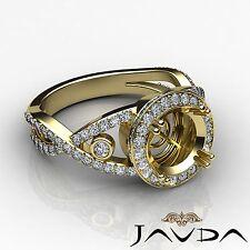 Round Semi Mount Diamond Engagement Cross Shank 18k Yellow Gold Halo 1.4Ct Ring