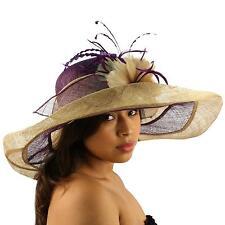 Summer Kentucky Derby Wide Brim Layer Floppy Flower Feathers Hat Beige Purple