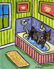 doberman pinscher dog bathroom wall 8x10 art PRINT  artist JSCHMETZ