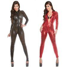 KouCla Wet Leather Look Catsuit Bodysuit Jumpsuit Crotch Zip - Red Black