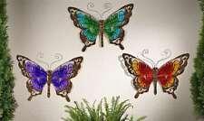 Butterfly Wall Plaque Metal & Glass Garden Decor - Purple, Green or Orange NEW
