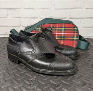 STUBURT Men's leather golf shoes with kilts and carry bag.  UK Sz 8 Black.