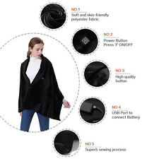USB Heated Shawl Carbon Fiber Electric Heating Throw Plush Flannel Blanket Pad