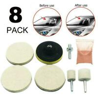 8Pcs Car Glass Scratch Cerium Removal Tool Oxide Powder Hot Polishing Pads M9Y5