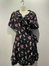 French Connection Cocktail print mock wrap dress size 12 RRP $129.50