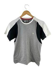 VINTAGE Champion Logo T Shirt Boys Size L Grey Short Sleeve Crew Performance