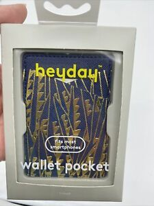 HeyDay Cell Phone Wallet Pocket Sticker Adhesive Lycra Navy And Gold