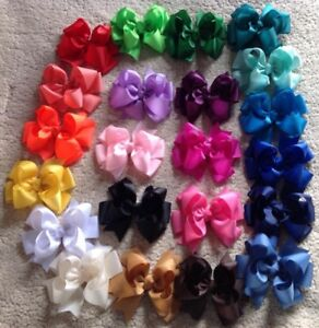 "LOT OF 20 Girl's 5"" Inch HAIRBOWS Hair Bows  -Handmade random Colors kids cute"
