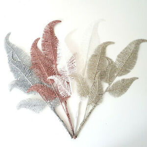 Glitter Feather Fern Christmas Decoration Champagne Rose Gold White Silver Pick