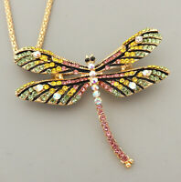 Betsey Johnson Women's Crystal Enamel Dragonfly Pendant Long Necklace/Brooch