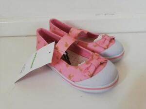 VEREBAUDET Girl's Ballerina Canvas Shoes Rose Print Pink Size UK 8.5J EU 26
