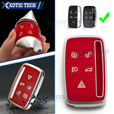Red Remote Smart Key Fob Cover Case Shell Holder Soft Tpu For Lange Rover Jaguar Fits More Than One Vehicle
