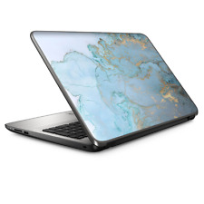 """Universal Laptop Skins wrap for 15"""" - Teal Blue Gold White Marble Granite"""