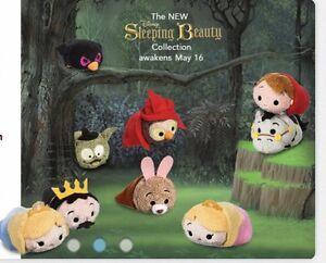 "*NEW Disney USA Sleeping Beauty Mini Tsum Tsum Set Of 9 Plush 3"""