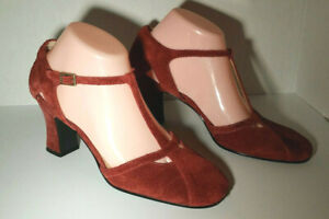 "Madeline Womens KADO Raspberry Suede Ankle T-strap 3"" Block heel Pump shoes 7.5M"