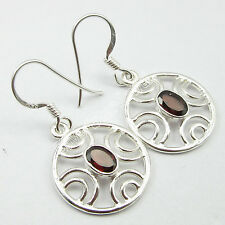 """925 Pure Silver, DEAL OF THE DAY Jewelry !! Red GARNET LOVELY EARRINGS 1.3"""""""
