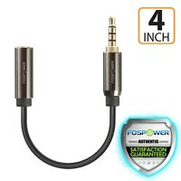 4in Short 3.5mm Male to Female TRRS Stereo Car Aux Audio Extension Cable Adapter