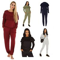 Womens Ladies Loungewear 2 Piece Set Frill Detail Ruffle Top Tracksuit Joggers