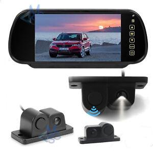 """Kit Retromarcia Specchietto 7"""" Retrocamera Sensore di Parcheggio Integrato Auto"""