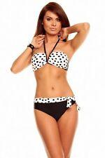 Sanselle Gorgeous White Black Polka Dot Bikini Cute Beach Swimwear Size UK 12