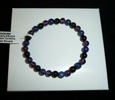 Black Tourmaline Amethyst Lapis Polished Beaded Gemstone Bracelet 8 grams