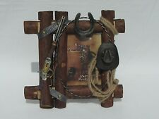 Western Wooden 5 x 7 Picture Frame w/ Rifle Cowboy Hat Rope Barbed Wire Rustic