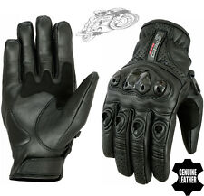MENS VENTED CARBON KNUCKLE PERFORATED MOTORBIKE SUMMER MOTORCYCLE LEATHER GLOVES