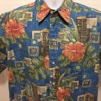 Reyn Spooner Mens Tiki Floral Hawaiian Shirt Sz Medium Reverse Print Aloha