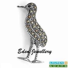 US$109 Lauren G Adams Cute Brooch Sterling Silver GENUINE Onyx & Marcasites