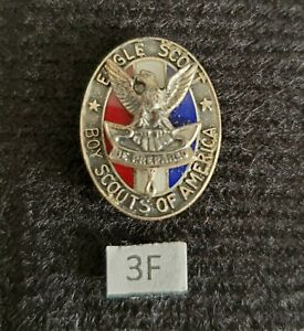 Vintage Type 3f Sterling Silver Eagle Boy Scout Hat Pin Medal Award Rank