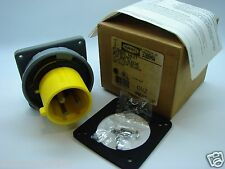 Hubbell 330B4W Flanged Inlet Watertight Pin & Sleeve 2/Pole 3/Wire 30A b83/t8
