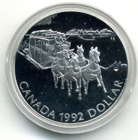 CANADA 1992 KINGSTON TO YORK STAGECOACH .925 SILVER $1.00 PROOF IN BOX