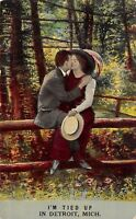 """""""I'm Tied Up"""" in Detroit Michigan~Romantic Couple on Park Fence~1908 Postcard"""