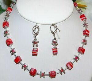 2er Schmuckset Halskette Ohrringe Würfel Lampwork Millefiori  Murano rot  254c