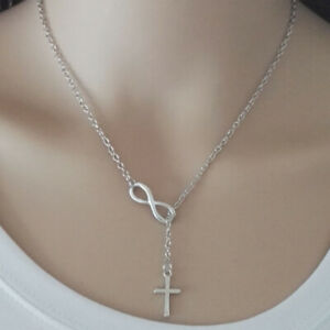 Fashion Lucky 8 Silver Chain Necklace Women Girl Cross Charm Jewelry Gift