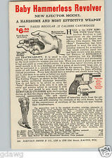 1920's PAPER AD .22 Caliber Cartridge Baby Hammerless Revolver Shell Ejecting