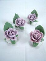 Rose Set of 4 Ceramic Handmade Hand Painted Roses Purple
