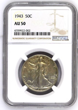 1943 USA - Half Dollar - 50 Cent -Walking Liberty - NGC AU 50 - Silver Coin !!!