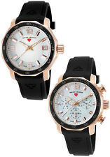Swiss Legend White Mother of Pearl Black Silicone Strap Watch Set