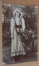 Postcard Milk Maid with a Cow Edwardian Real photo unposted