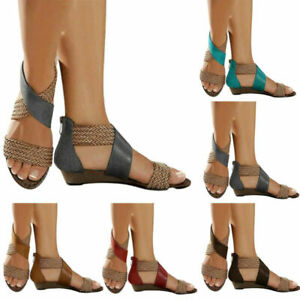 Women Summer Wedge Sandals Comfy Toe Cross Strappy Shoes Zipper Gladiator Size