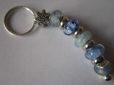 Beaded Keyring / Bag Charm with Icy Blue Lampwork Beads & Snowflake Charm