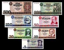 * * * 5,10,20,50,100,200,500 DDR Mark Geldscheine 1971-1989 alte Währung * * *