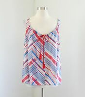 CAbi Blue Red Tassel Tank Top Blouse Size M Style 5230 Striped Abstract