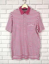 Polo Golf Ralph Lauren Mens Size Medium Pink White Striped Polo Shirt Pocket